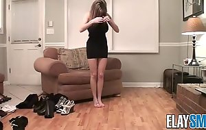 Teen Tries on Clothes Shows of Slender Body and Huge Tits Shoes