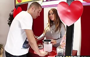 Brazzers - Mommy Got Boobs - Mommy Mans the Kissing Cubicle scene starring Kianna Dior and Danny Get to one's feet