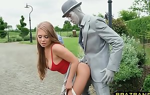 Living statue fucks cock hungry slut all over his huge cock