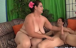 Bigtitted plumper bouncing on lucky blarney