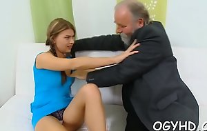 Pretty juvenile gal fucked by old chap