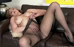 Blonde heavy tits milf toying in pantyhose