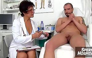 Bazaar lady doctor Koko old close by young CFNM check-up and handjob