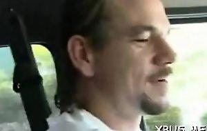 Wench rides cock around a bang bus