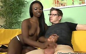 Cock jerking off nubian babe pleasures fat dick