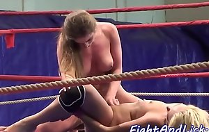 Amateur lesbians scissoring everywhere a boxing ring