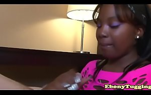 Ebony amateur tugging with two trotters