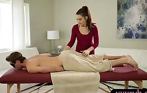 Two masseuses pounded vulnerable massage table