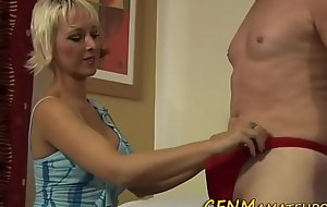 Take charge blonde cfnm tugging
