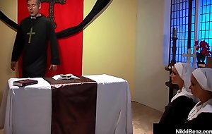 Supine Pet Nikki Benz &amp_ Jessica Jaymes Banged As Nuns!