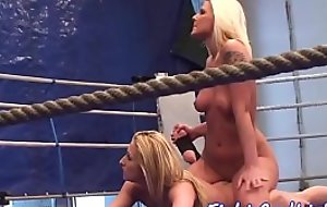 Busty wrestling honeys in a boxing blast