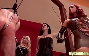 Three mistresses together with one helpless slave