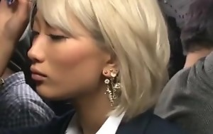 Japanese blonde AIKA groped in a public bus plus maltreated in a public toilet