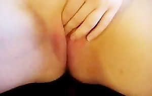 Chubby girlfriend masturbates and receives jizzed on