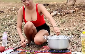 Incredible Girl Cooking Pipeline Snake Soup HD