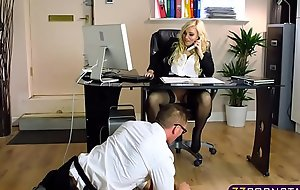 Blonde chick gets fucked off out of one's mind the IT guy in the office