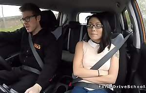 Behave oneself driving school bangs Asian student