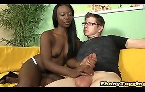 Black lay babe pulling hard dick