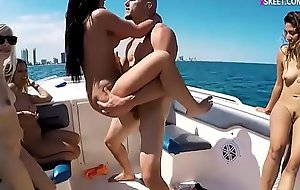 College teen cuties pounded on speedboat