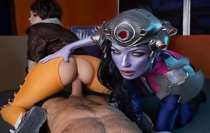 VR Cosplay X CFNM Threesome In the matter of Widowmaker And Tracer VR Porn