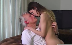 Old and Young Porn - Babysitter pussy fucked by old bloke and swallows cum