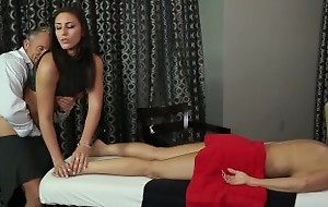 Husband Cheats with Masseuse with Wife connected with Room!