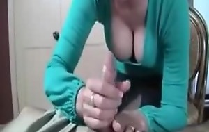 Dirty Talking Fat Titted Cum Addict Mom gives Hand job to the brush Son
