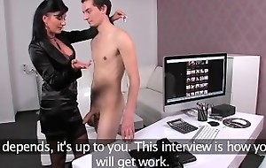 FemaleAgent MILF is shy guys last chance to drink up his virginity