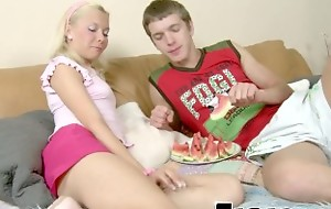 Slim Blonde Watermelon Eating Foreplay