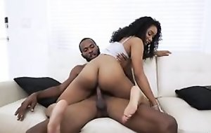 Frizzled haired ebony nailed by her kinky stepbrother