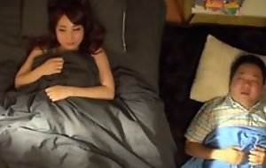 Asian legal age teenager wakes her hubbie up and does quickie