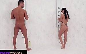 Fitness Rooms Big tits gym babe Nelly Kent gagging face fuck in eradicate affect shower