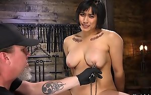Hairy Asian busty slave drilled prevalent bondage