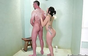 Hose down suppliant gets his first palpate - Mandy Muse and Charles Dera