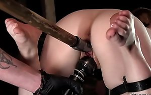 Slave strapped give device pussy toyed