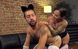 Crossdresser takes trannys balls up his aggravation