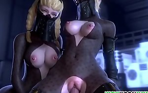 Big boobs 3D babes pussy hammered largely