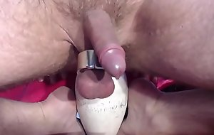 Prostate milking with a bowling pin (no sound)