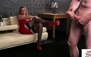 Busty CFNM beauty instructs tugging stranger