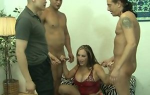 Mature increased by threee males in group sex fucking hardcore sex turn in the balance cumshot
