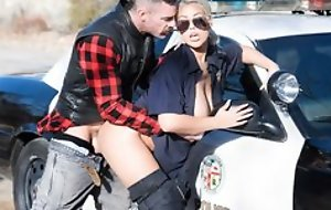 Sexy police officer upon huge melons getting shagged by horny biker