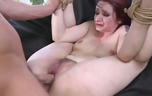 Redhead sub getting spanked, mouth fucked and sodomized