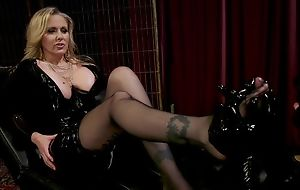 Medial MILF with big juggs plays with her unalike slave