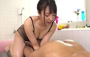 Hot Japanese girl to big natural tits licks BF's rectal hole