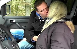Nasty blonde mature receives properly screwed in the back of the car