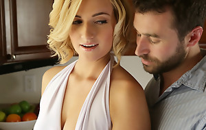 Short haired blonde Kate England gives a lusty oral-sex and titty be thrilled by before getting her the money undecorated pussy pounded