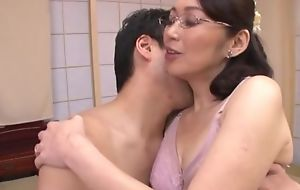 Japanese housewife with glasses acquires screwed balls deep