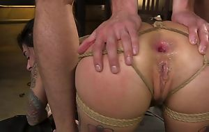BDSM warm bungle with tats gets roughly screwed