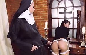 Perverted nun fucks say no to girlfriend concerning dong fake penis