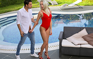 Lusty blonde bombshell Angelika Grays peels off her bathing suit and sucks her mans cock before riding his hardon
